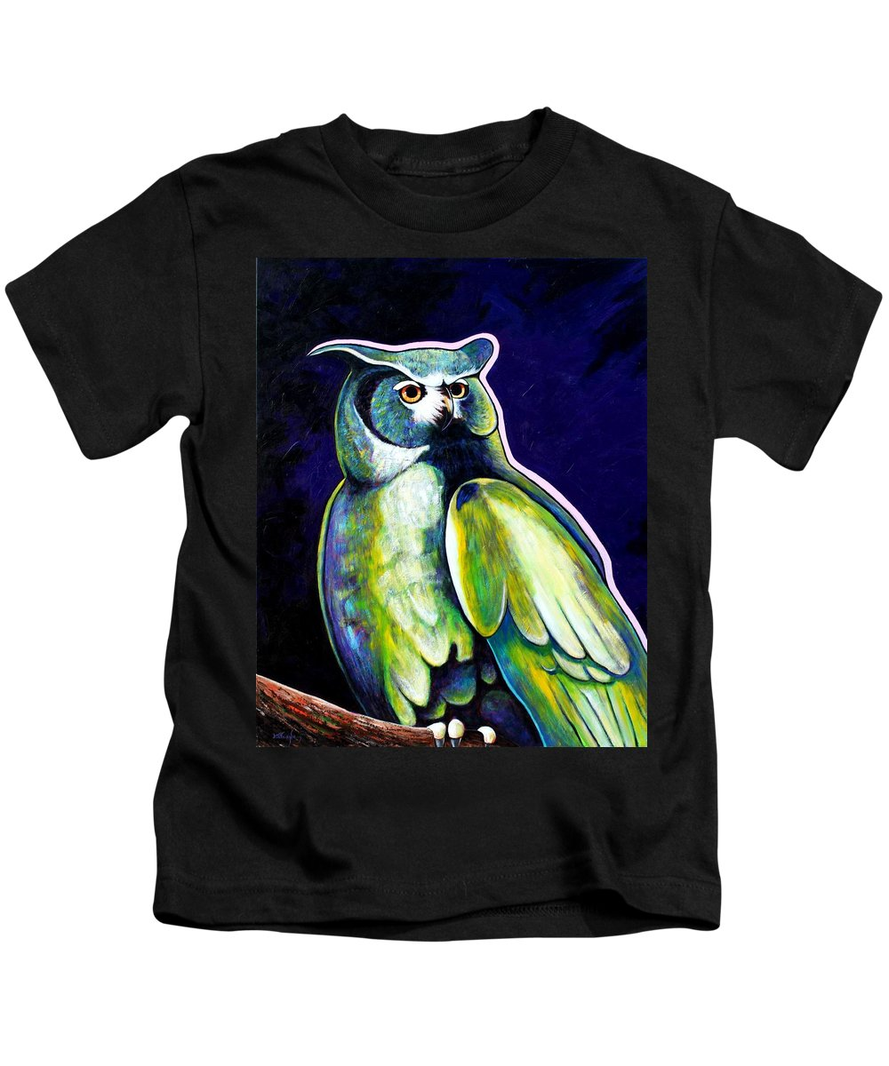 Owl Kids T-Shirt featuring the painting From The Shadows by Joe Triano