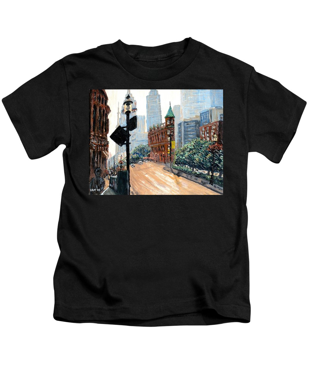 Toronto Kids T-Shirt featuring the painting Front And Church by Ian MacDonald