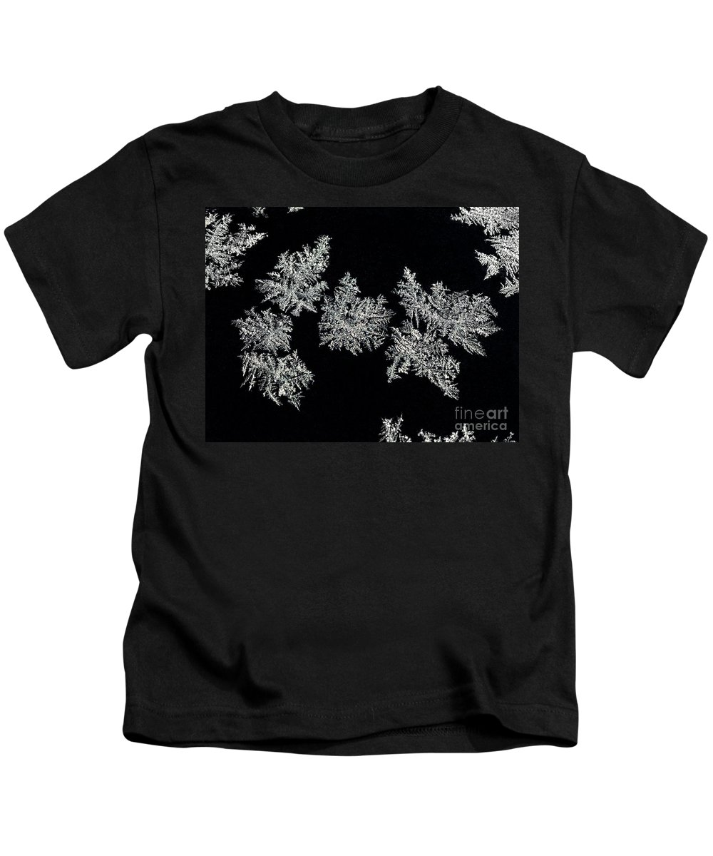 Frosty Snowflakes Kids T-Shirt featuring the photograph Frosty Snowflakes by Mariola Bitner