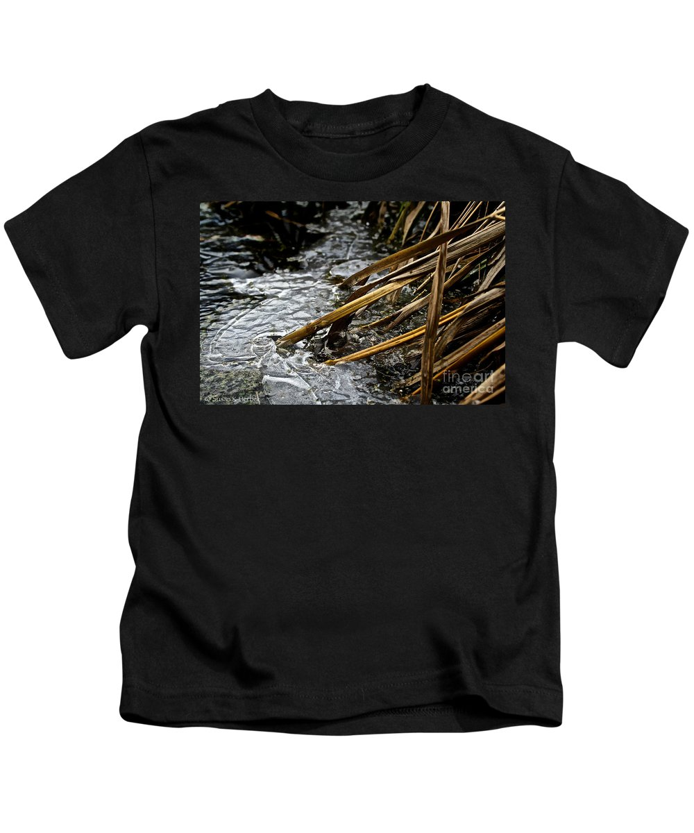 Outdoors Kids T-Shirt featuring the photograph Frozen Edges And Ends by Susan Herber