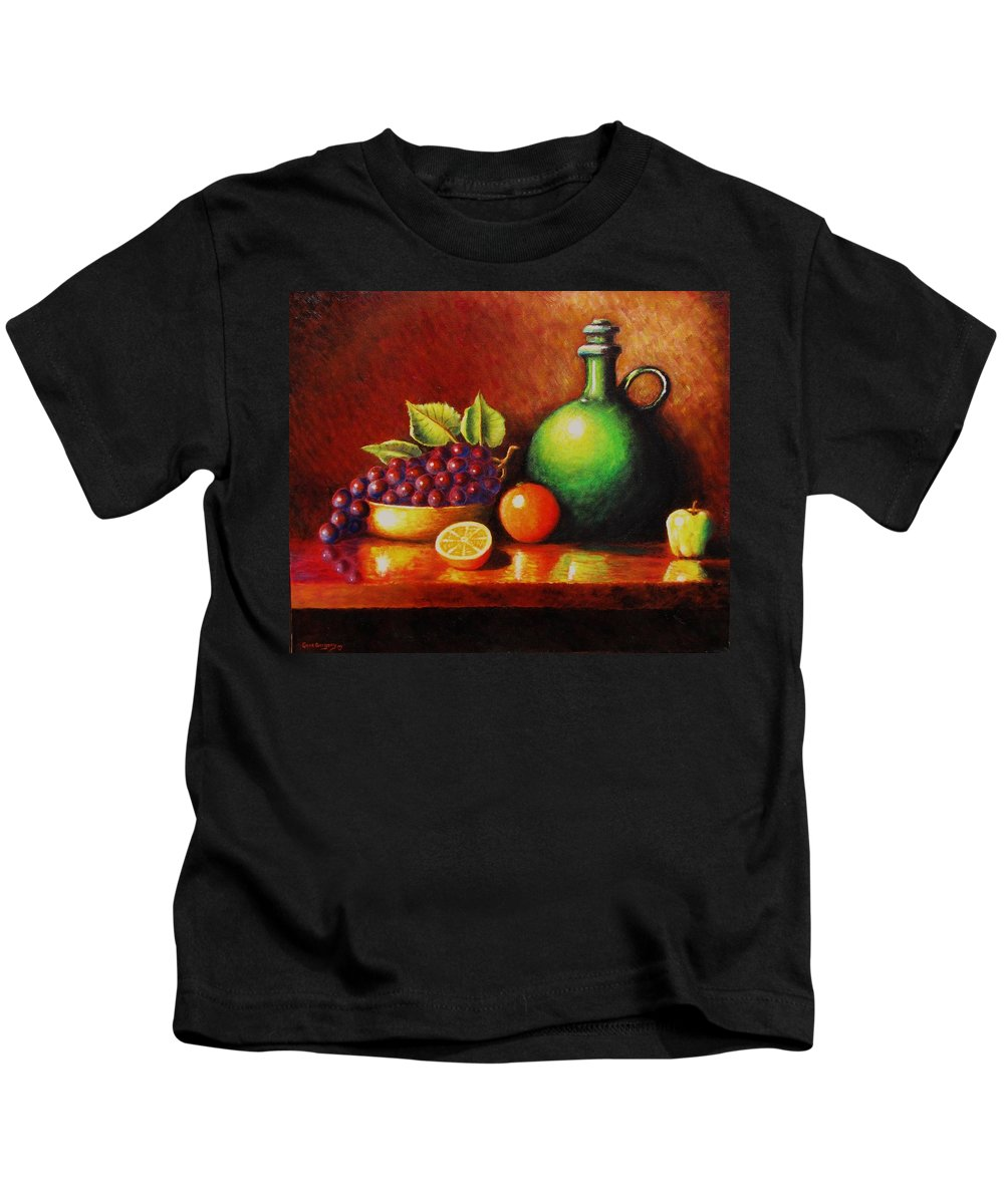 Still Life... Jug Kids T-Shirt featuring the painting Fruit And Jug by Gene Gregory