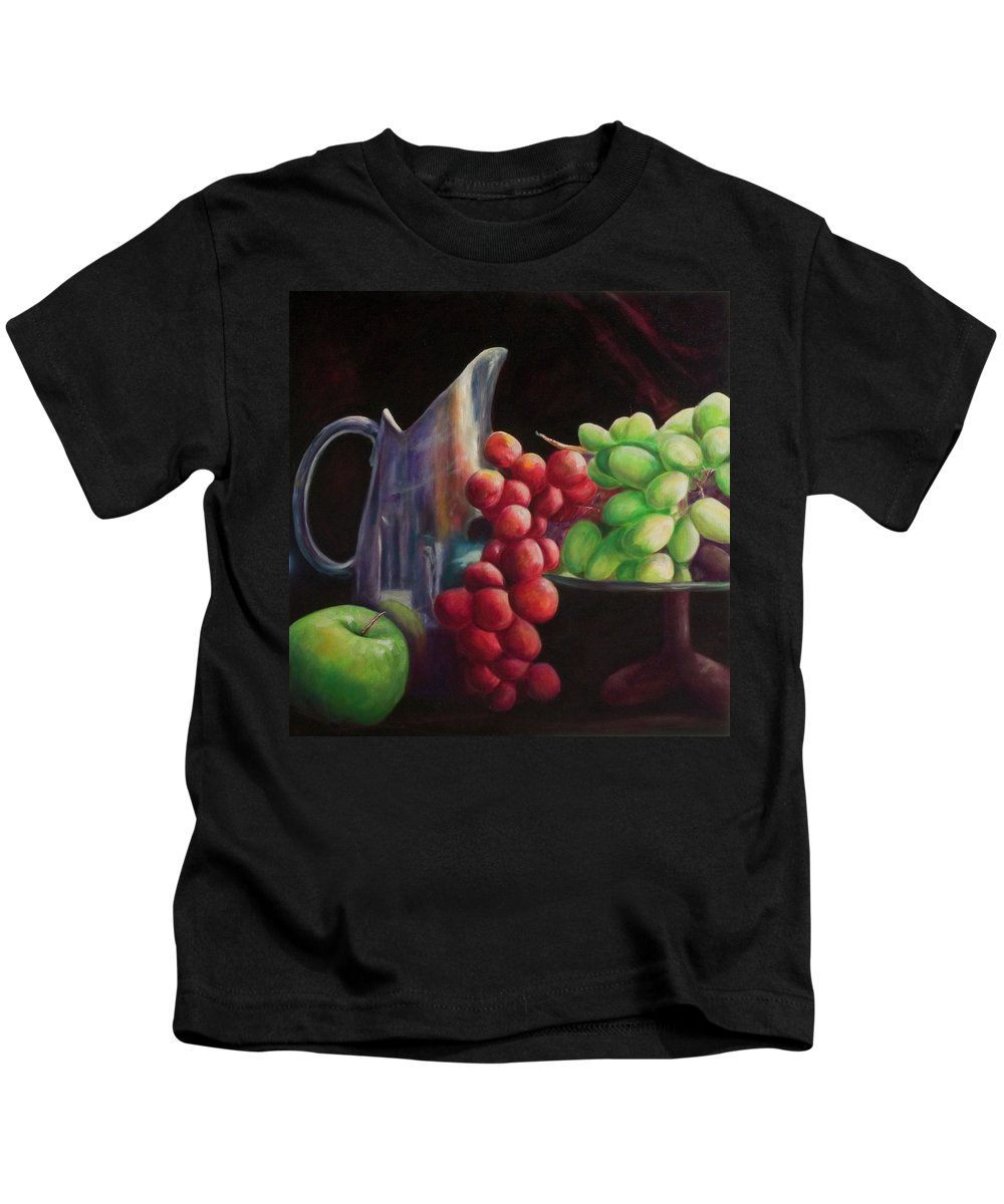 Grapes Kids T-Shirt featuring the painting Fruit of the Vine by Shannon Grissom