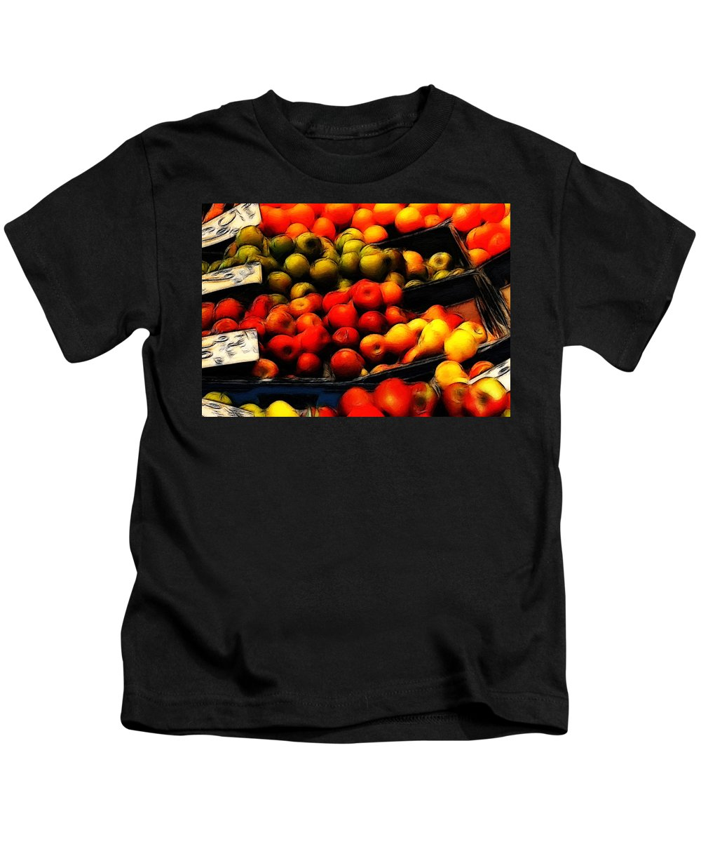 Fruit Fruits Vegetable Market Shop Grocer Gree Apple Orange Painting Oil Art Expressionism Color Colorful Kids T-Shirt featuring the painting Fruits On The Market by Steve K