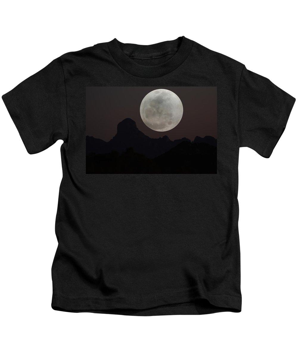 Baboquivari Kids T-Shirt featuring the photograph Full Moon Over Baboquivari by Laurie Larson