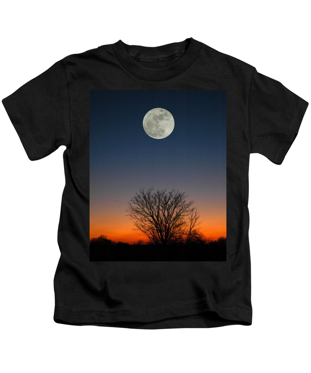 Full Moon Kids T-Shirt featuring the photograph Full Moon Rising by Raymond Salani III