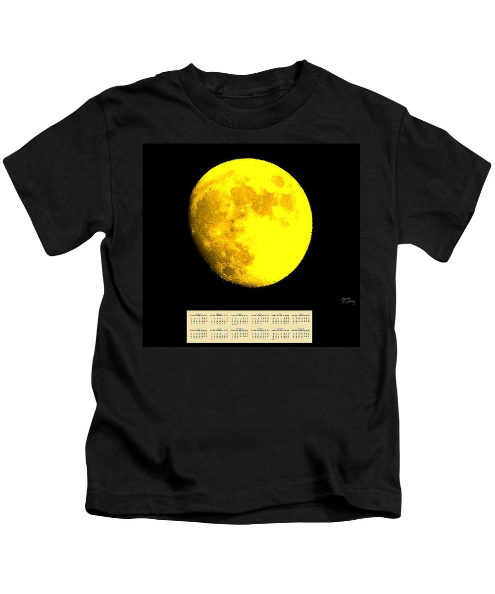 Moon Kids T-Shirt featuring the painting Full Yellow Moon 2014 Calendar by Bruce Nutting