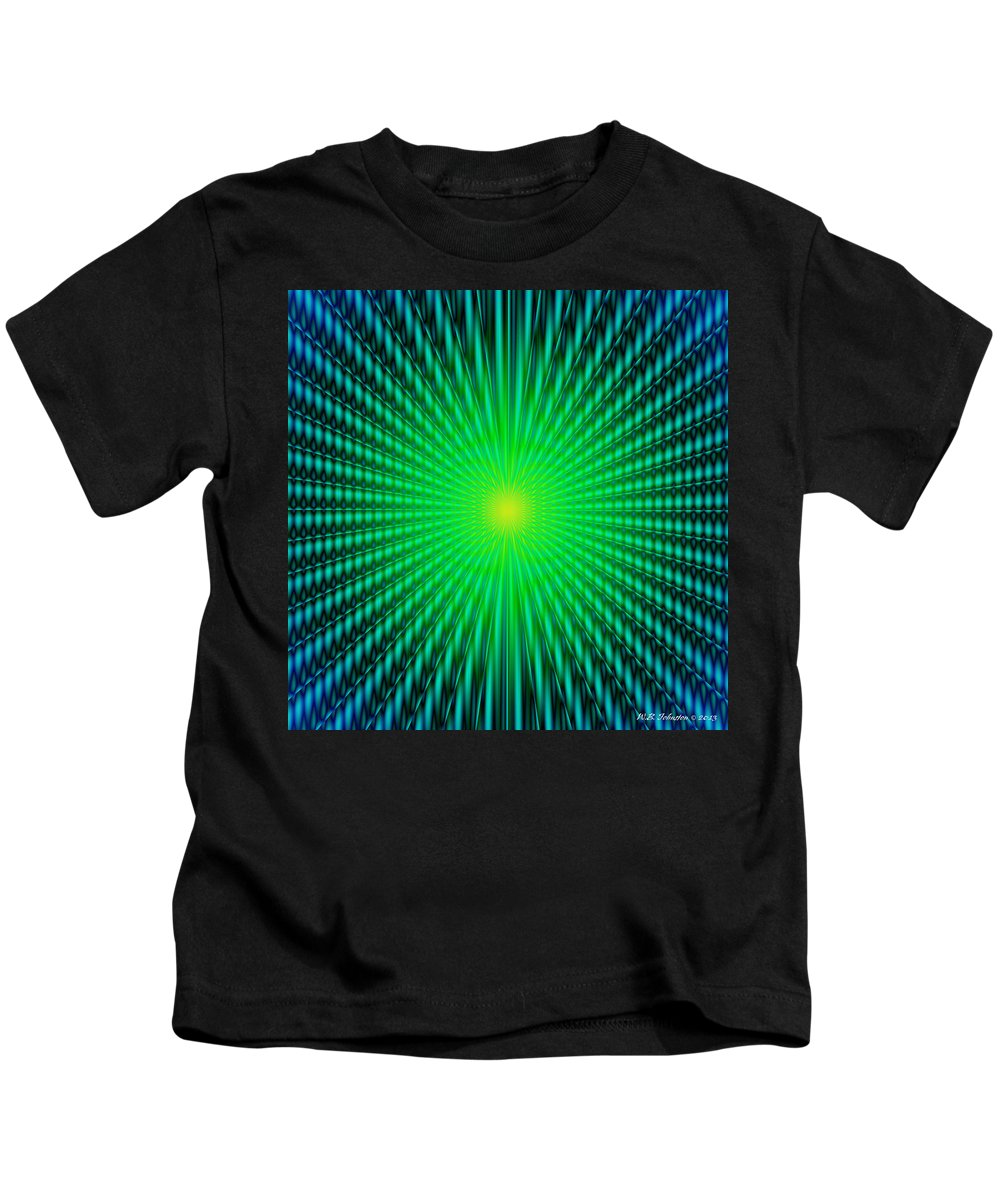 Op Art. Optical Kids T-Shirt featuring the digital art Fusion 1 by WB Johnston