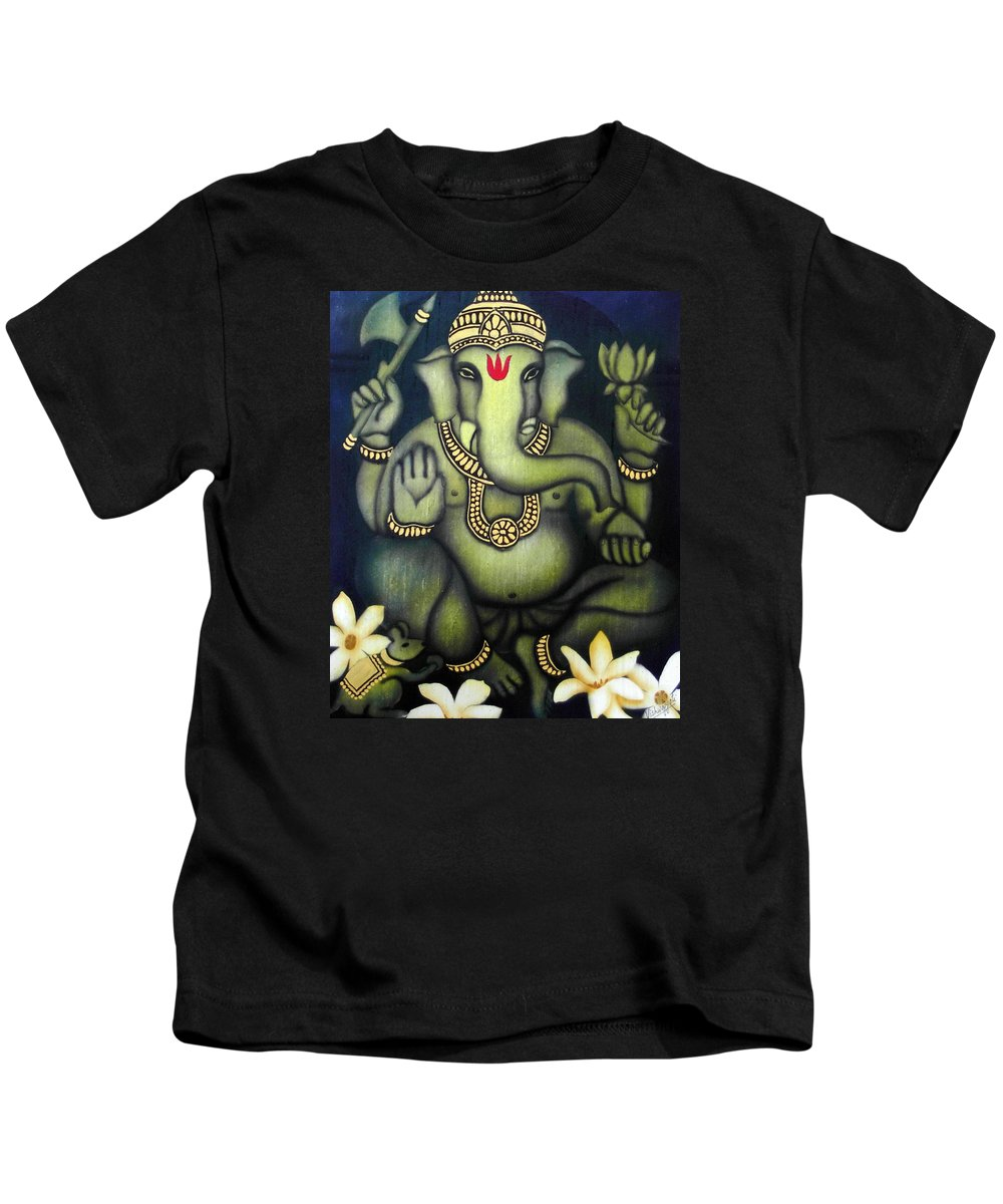 Ganesha Kids T-Shirt featuring the painting Ganesha by Vishwajyoti Mohrhoff