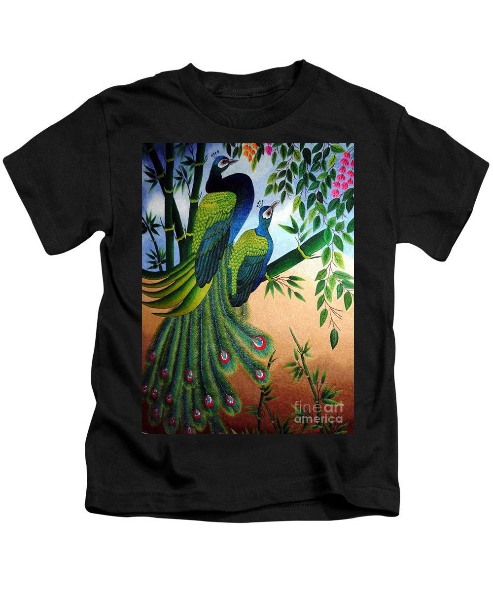 Peacock Kids T-Shirt featuring the tapestry - textile Garden Jewel II Hand Embroidery by To-Tam Gerwe