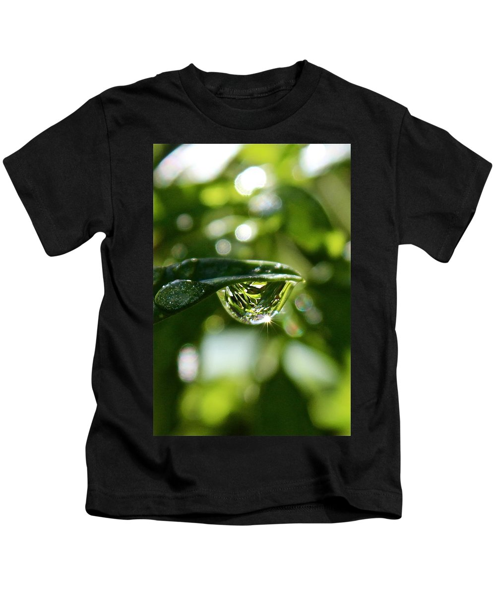 Water Drops Kids T-Shirt featuring the photograph Garden Reflections by Kume Bryant