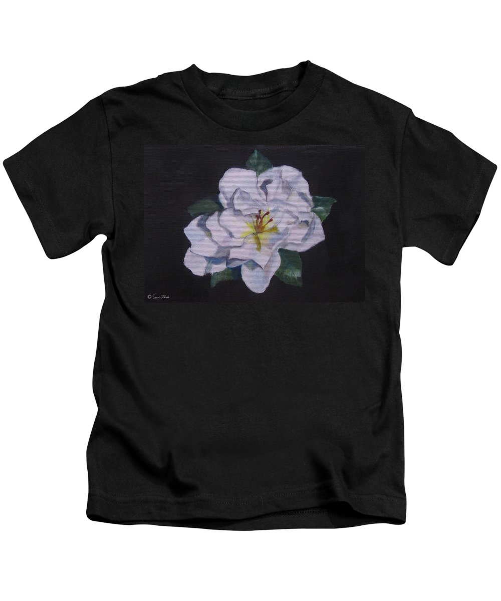 Still Life Kids T-Shirt featuring the painting Gardenia by Sarah Parks