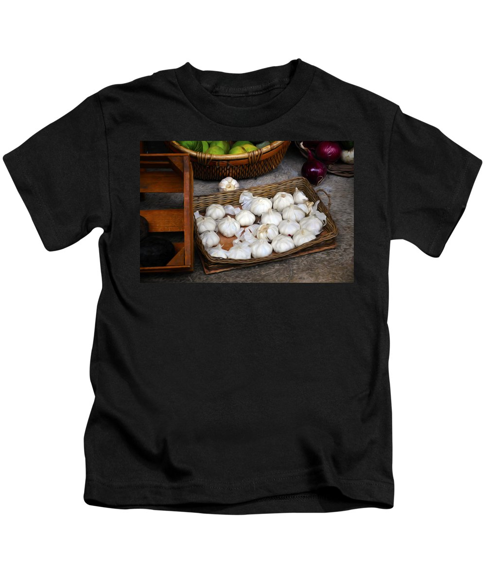 Garlic Kids T-Shirt featuring the painting Garlic by Tom Bell