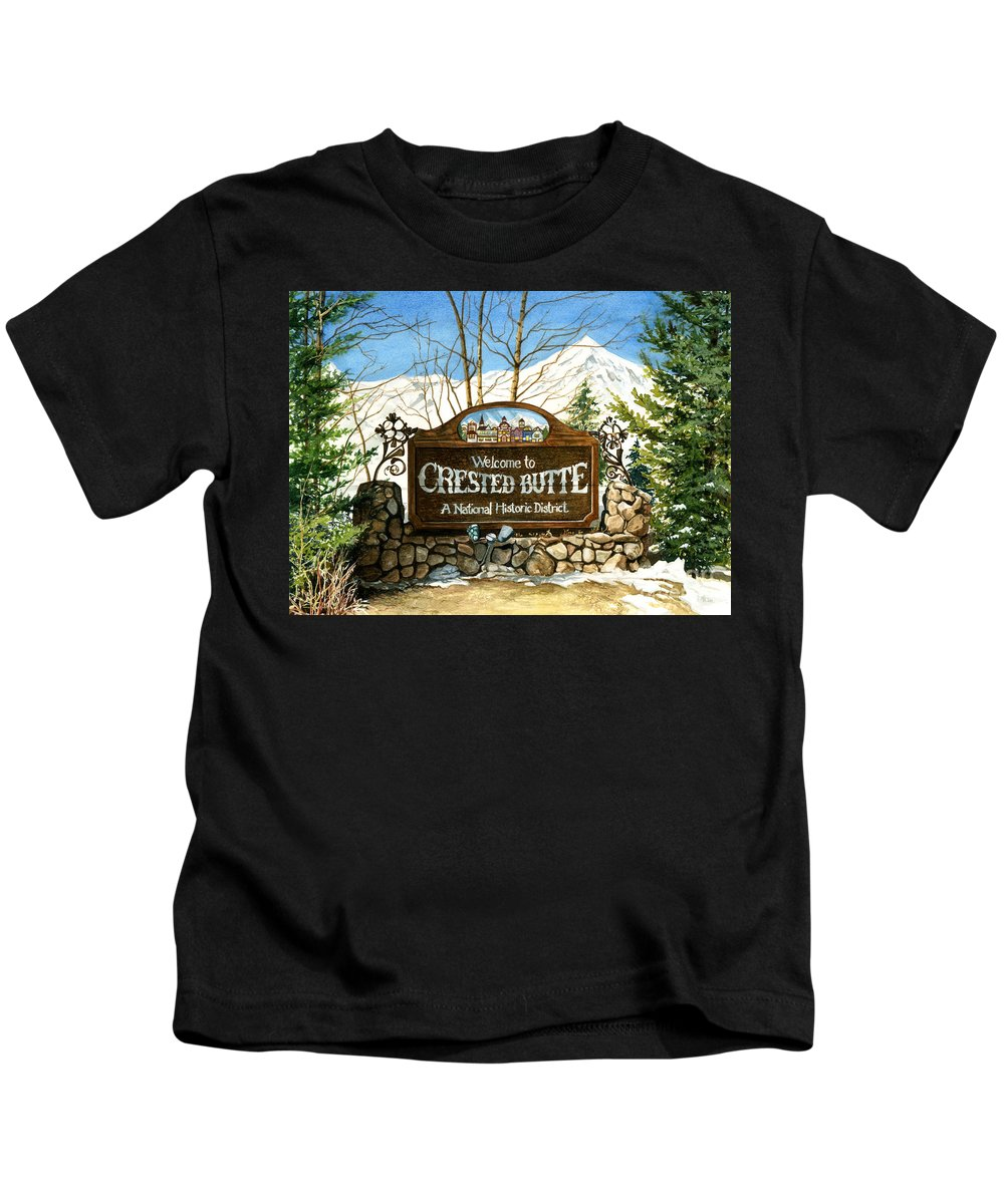 Water Color Paintings Kids T-Shirt featuring the painting Gateway To Grandeur by Barbara Jewell