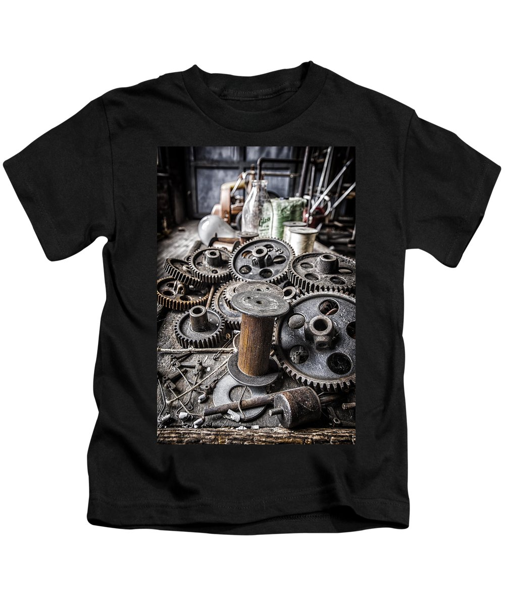 Gears Kids T-Shirt featuring the photograph Geared Out by Rob Dietrich