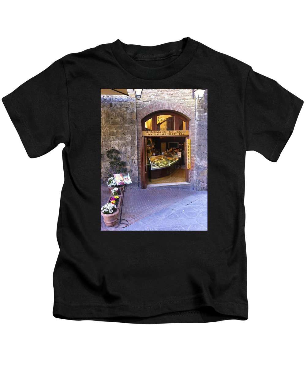 Karen Zuk Rosenblatt Kids T-Shirt featuring the photograph Gelateria Siena by Karen Zuk Rosenblatt