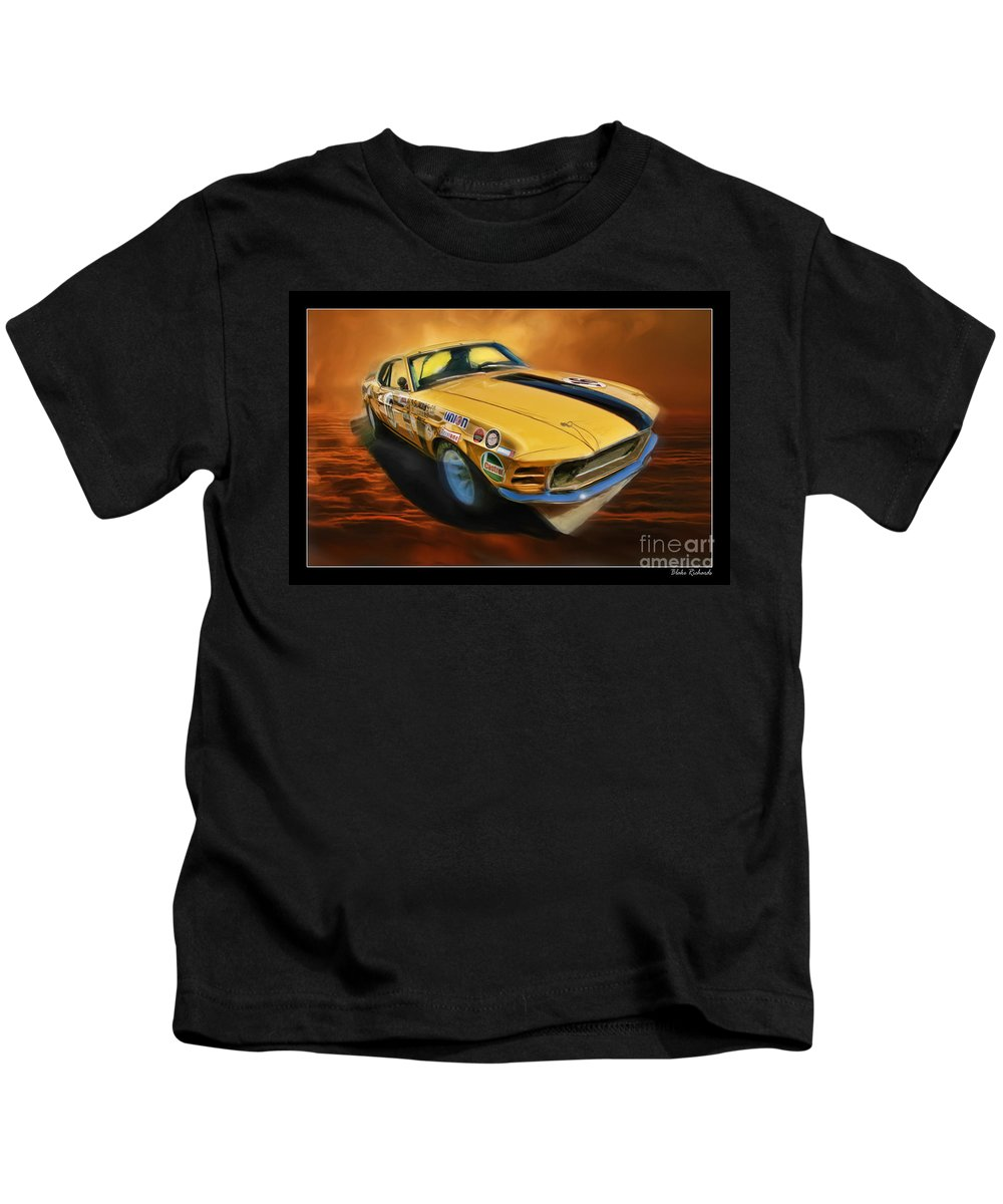 1970 Trans Am Parnelli Jones Boss 302 Ford Mustang Kids T-Shirt featuring the photograph George Follmer 1970 Boss 302 Ford Mustang by Blake Richards
