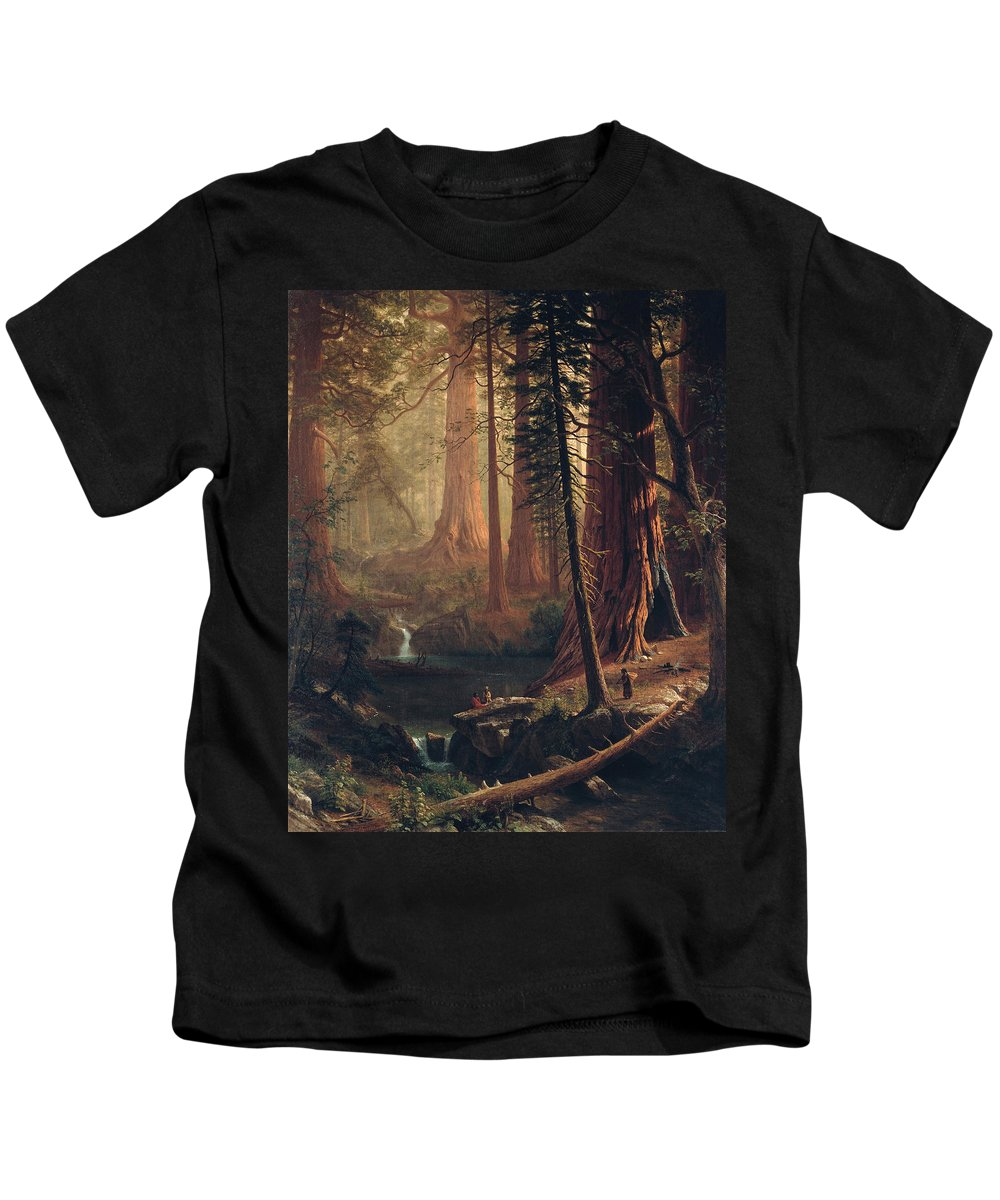 Albert Bierstadt Kids T-Shirt featuring the painting Giant Redwood Trees Of California by Albert Bierstadt