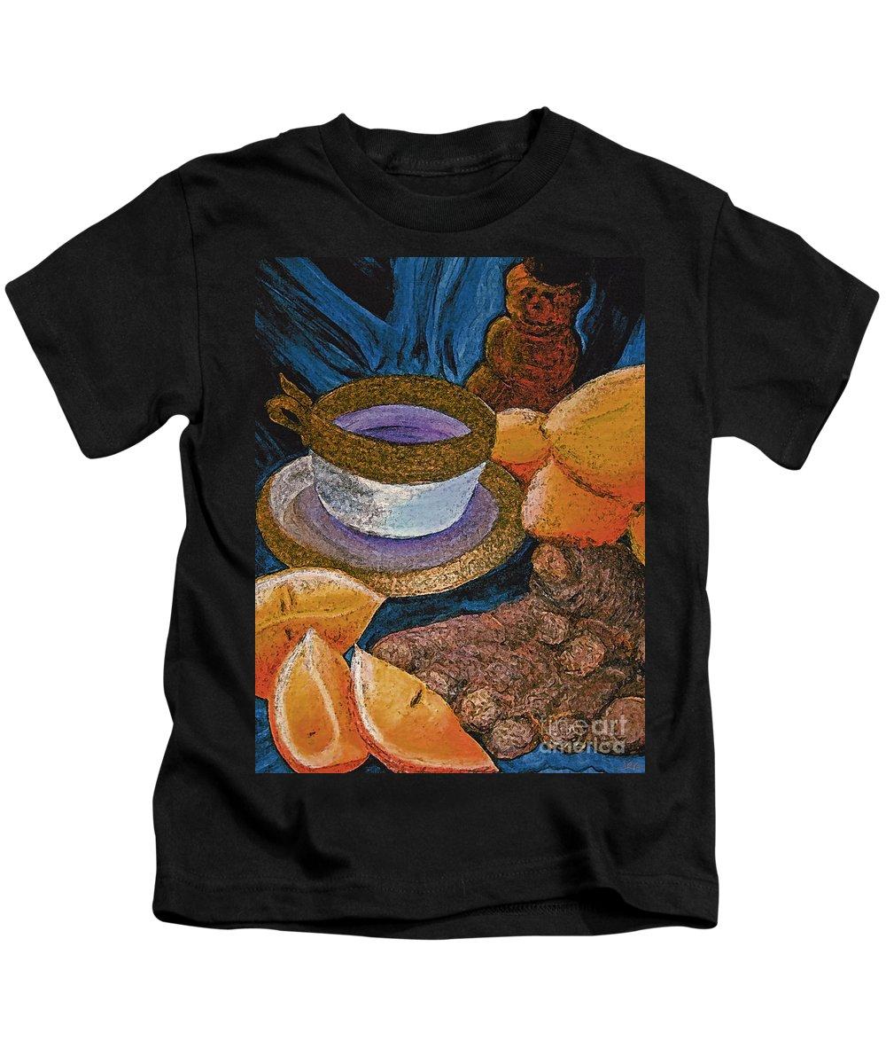 First Star Art Kids T-Shirt featuring the painting Ginger Lemon Tea 2 By Jrr by First Star Art