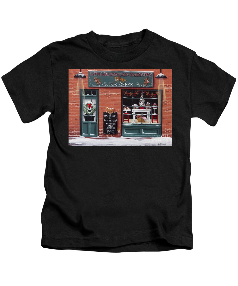 Art Kids T-Shirt featuring the painting Gingerbread Bakery At Fox Creek by Catherine Holman