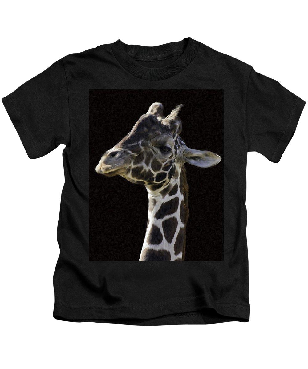 Giraffe Kids T-Shirt featuring the photograph Giraffe In The Morning Pixelated by James Ekstrom