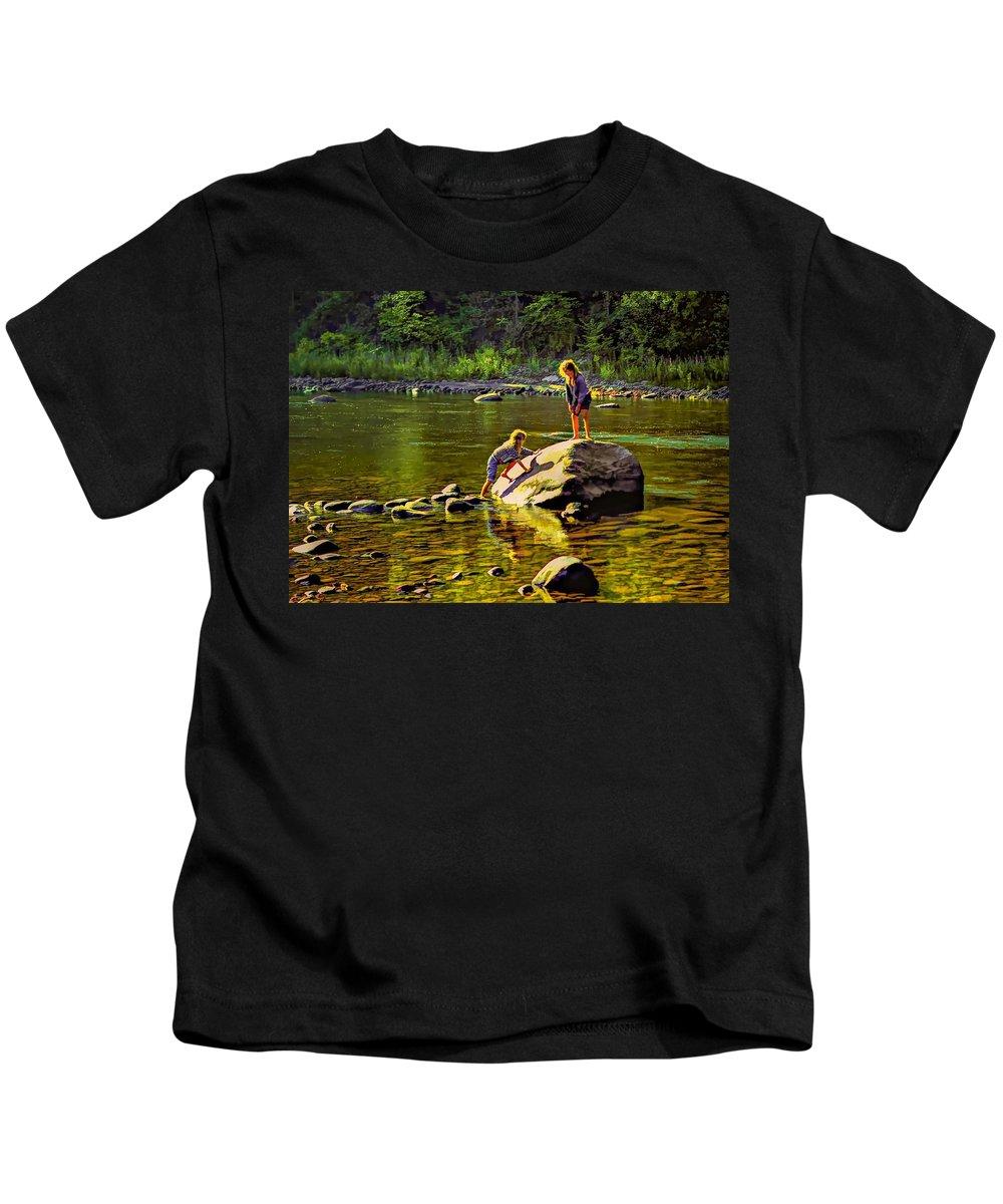 Girls Kids T-Shirt featuring the photograph Girlfriends by Steve Harrington
