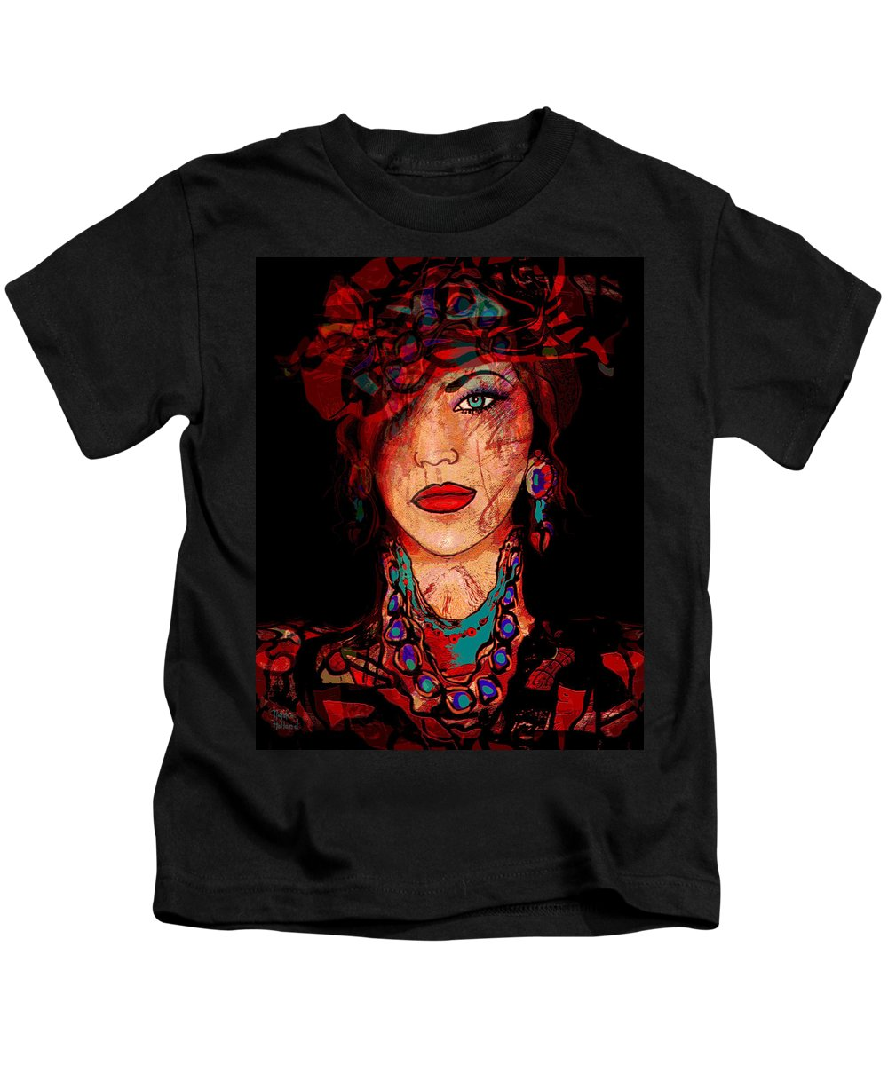 Woman Kids T-Shirt featuring the mixed media Glamor by Natalie Holland