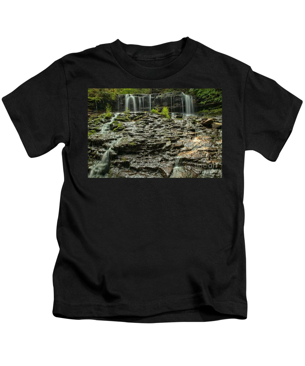 Mohawk Falls Kids T-Shirt featuring the photograph Glassy Rocks At Mohawk by Adam Jewell