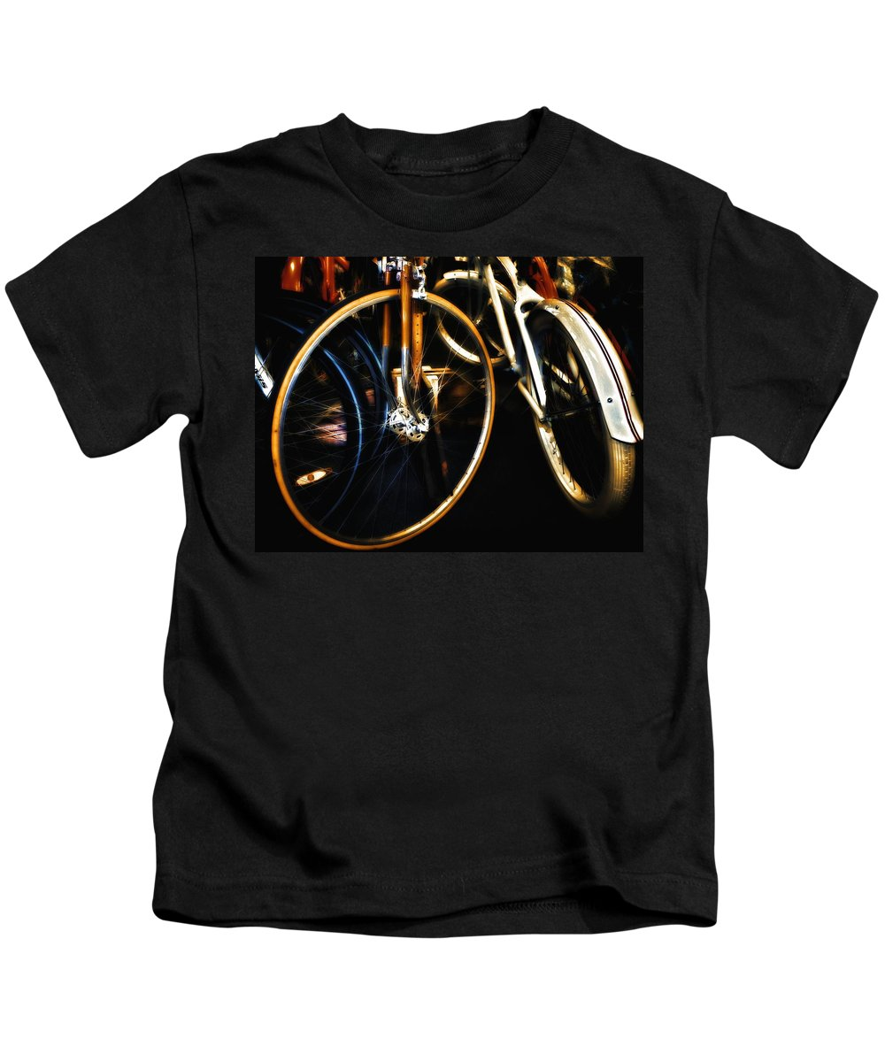 Bicycles Kids T-Shirt featuring the photograph Glitter Palace by Robert McCubbin