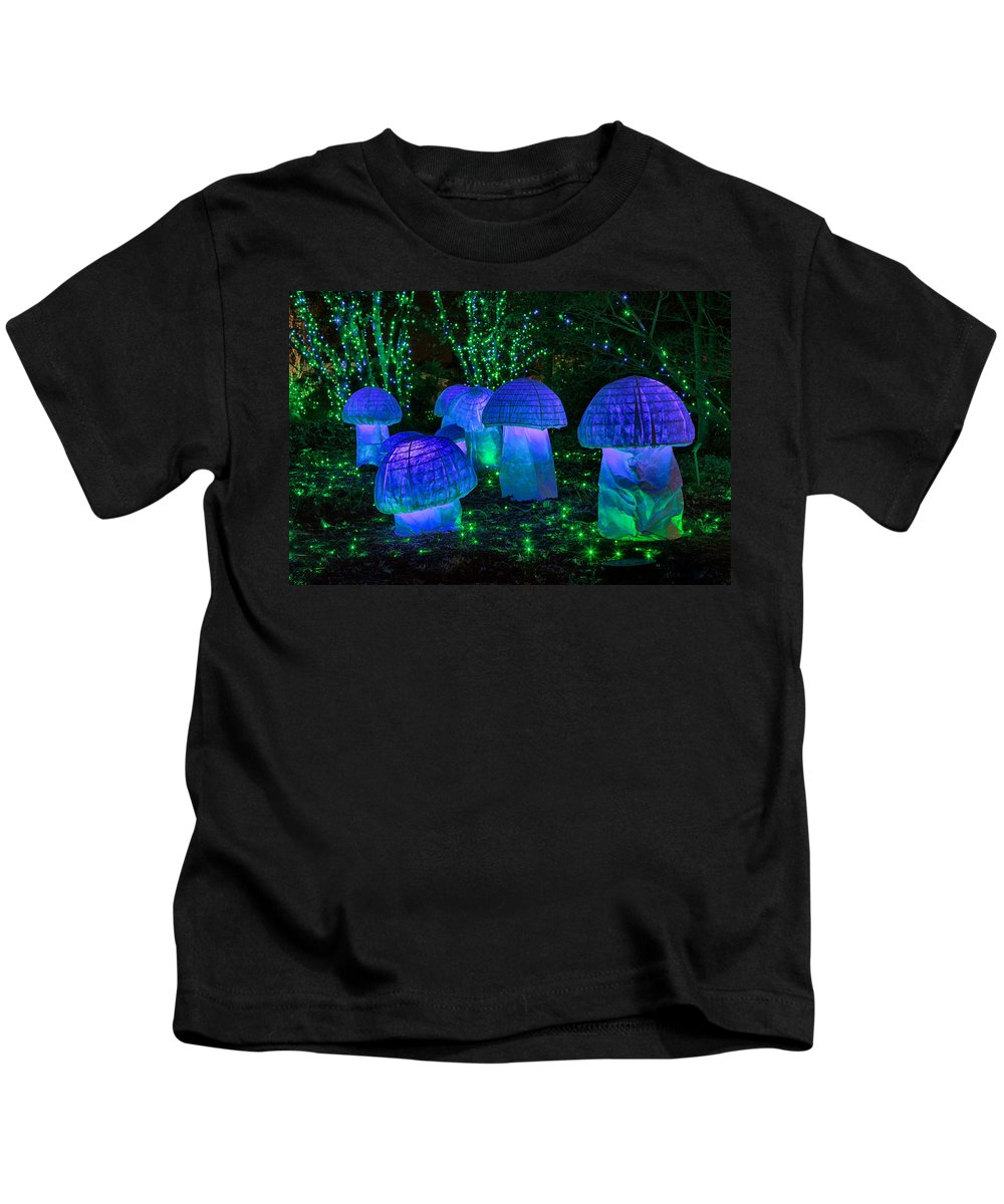 Cindy Archbell Kids T-Shirt featuring the photograph Glowing Mushrooms by Cindy Archbell