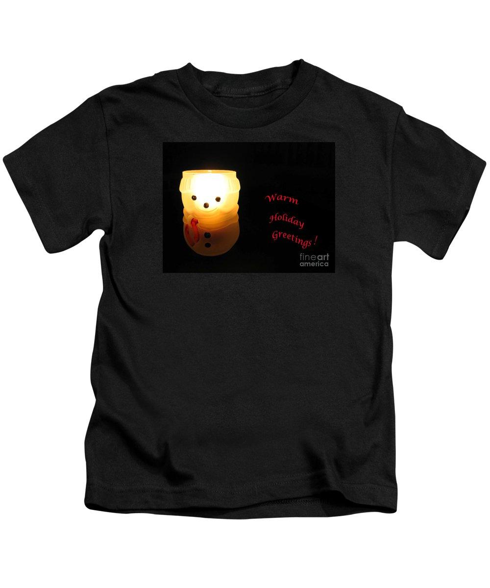 Snowman Kids T-Shirt featuring the photograph Glowing Snowman by Ann Horn