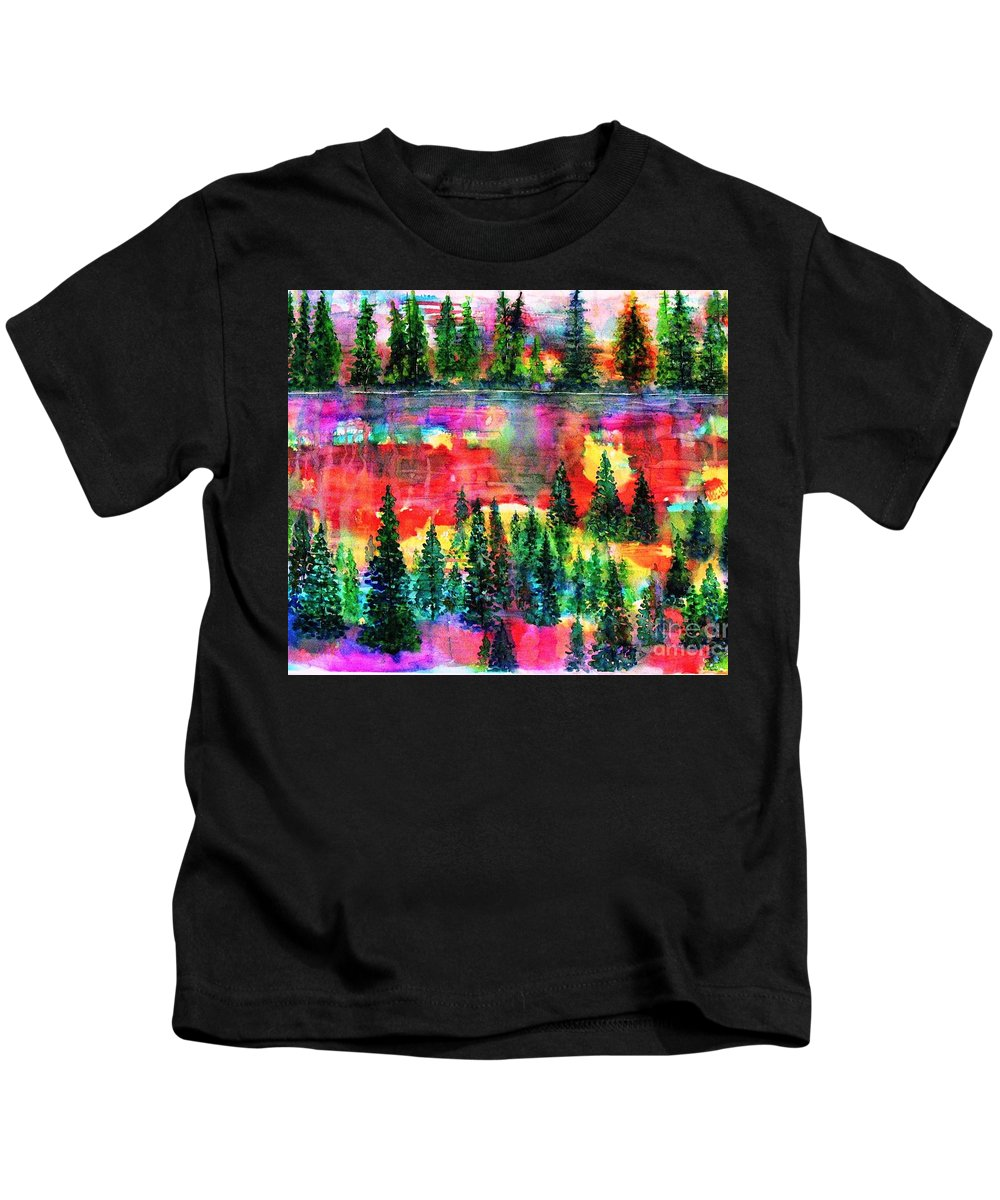 Trees Kids T-Shirt featuring the painting God's Kaleidoscope by Hazel Holland