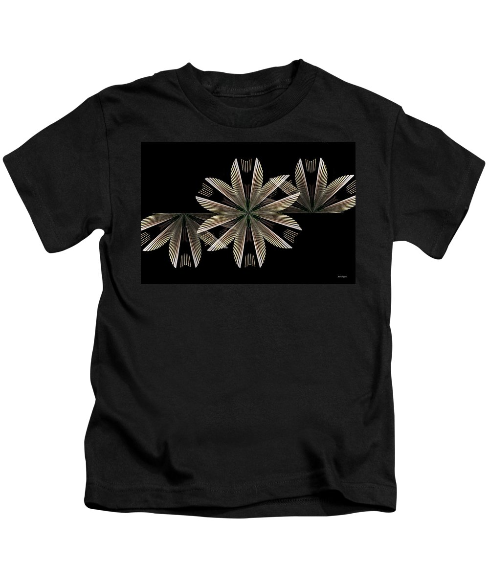 Gold Floral Abstract Kids T-Shirt featuring the digital art Gold Floral Abstract by Maria Urso