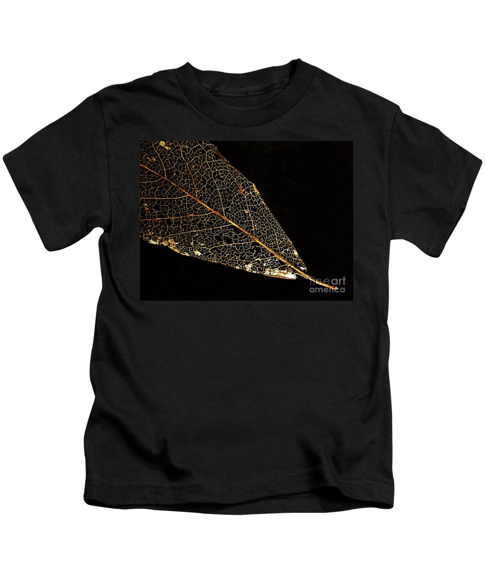 Leaf Kids T-Shirt featuring the photograph Gold Leaf by Ann Horn