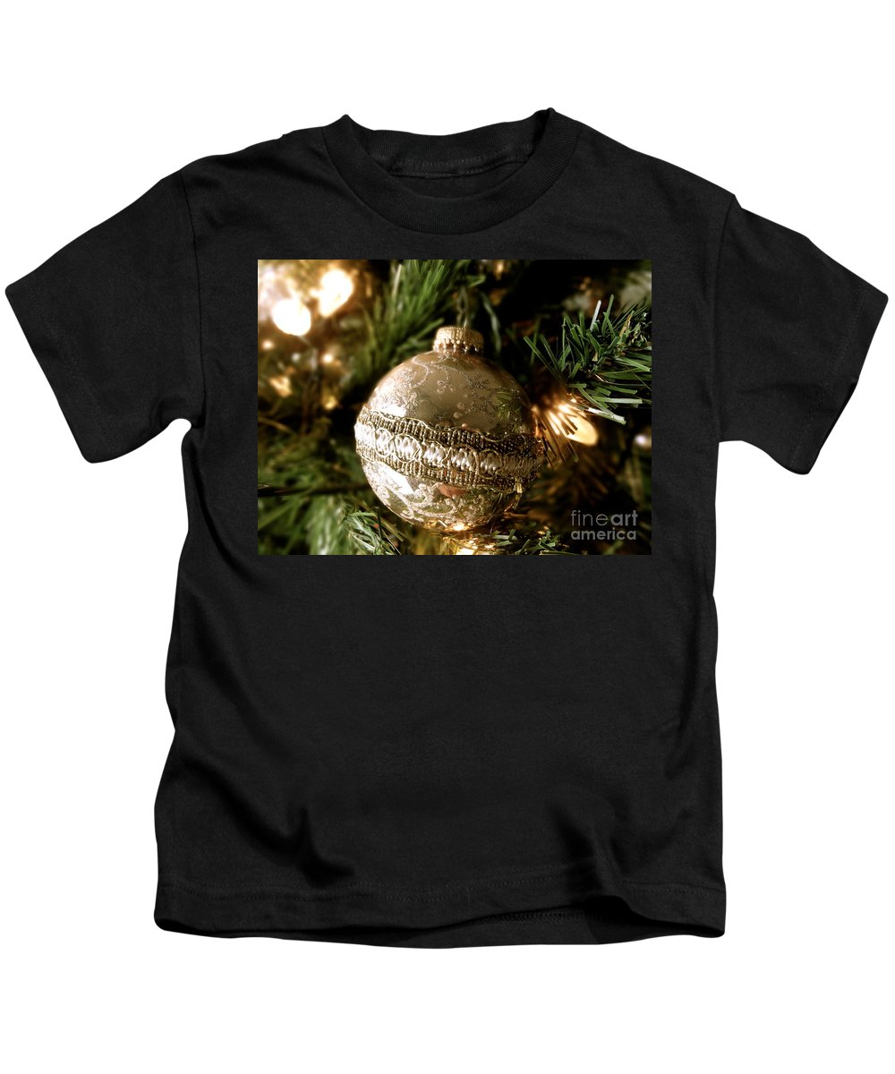 Christmas Kids T-Shirt featuring the photograph Gold Ornament by Jacqueline Athmann