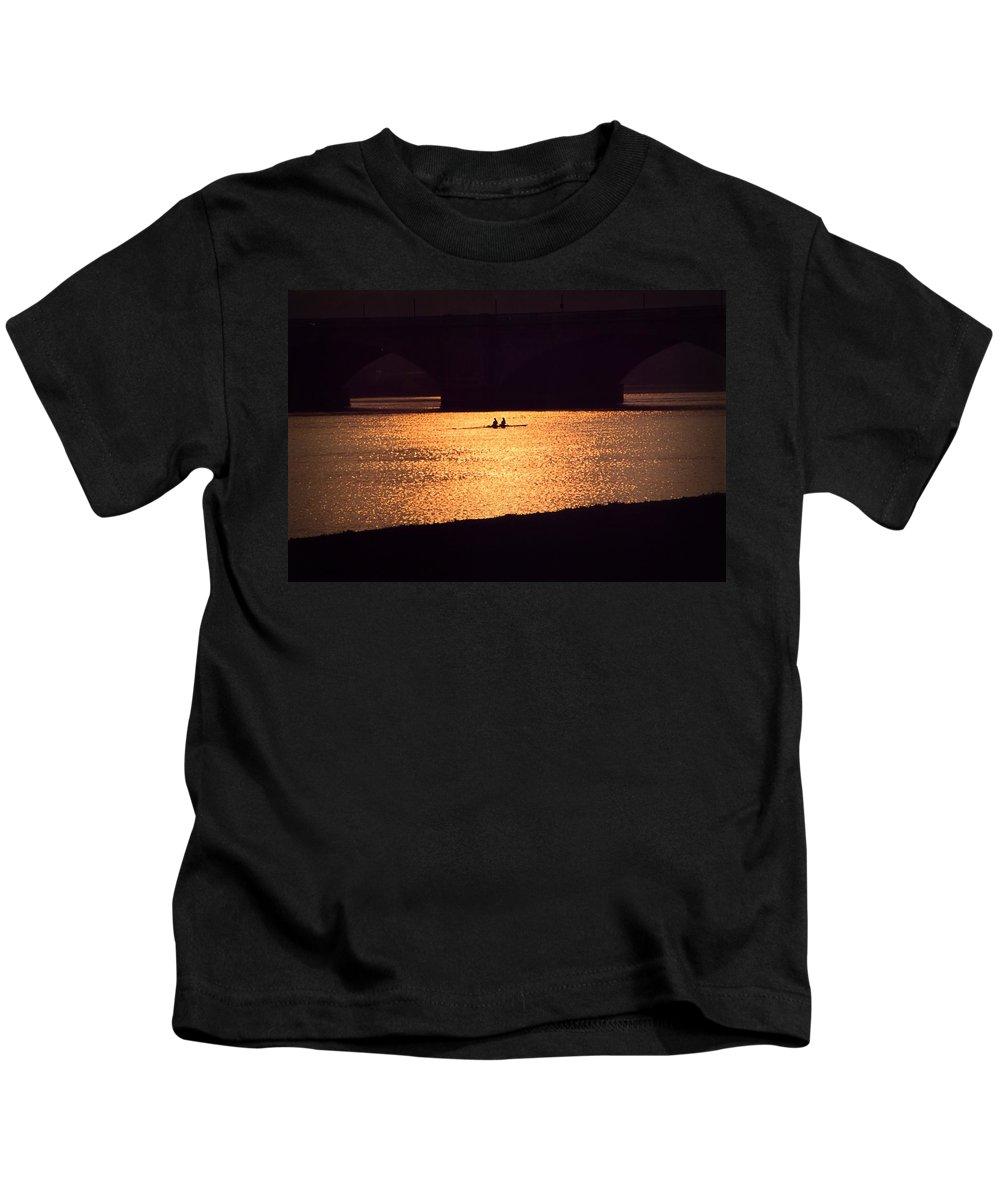 Potomac Kids T-Shirt featuring the photograph Golden Potomac by DJ Florek