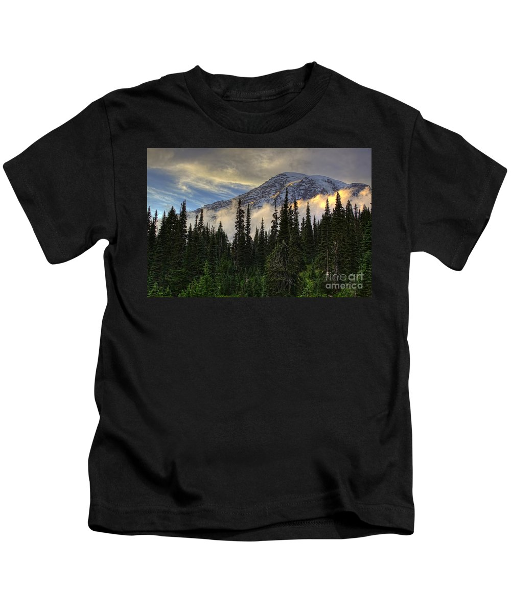 Golden Shawl On The Mountain Kids T-Shirt featuring the photograph Golden Shawl On The Mountain by Gary Holmes