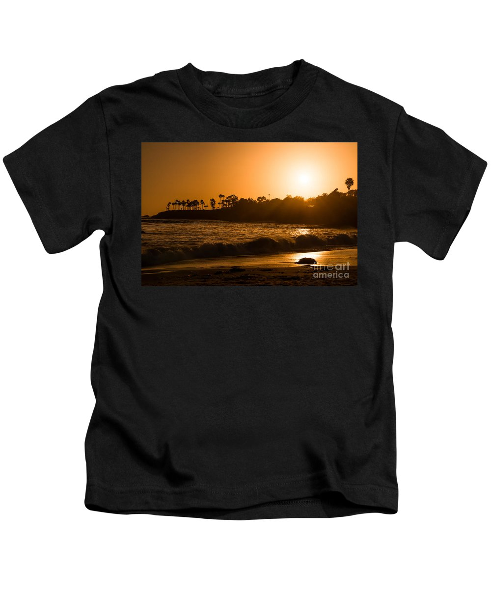 Rushing Water Kids T-Shirt featuring the photograph Golden Sunset At Laguna by Michael Ver Sprill