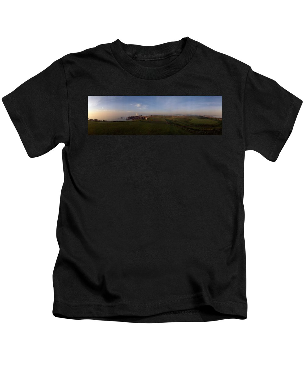 Photography Kids T-Shirt featuring the photograph Golf Course With A Lighthouse by Panoramic Images