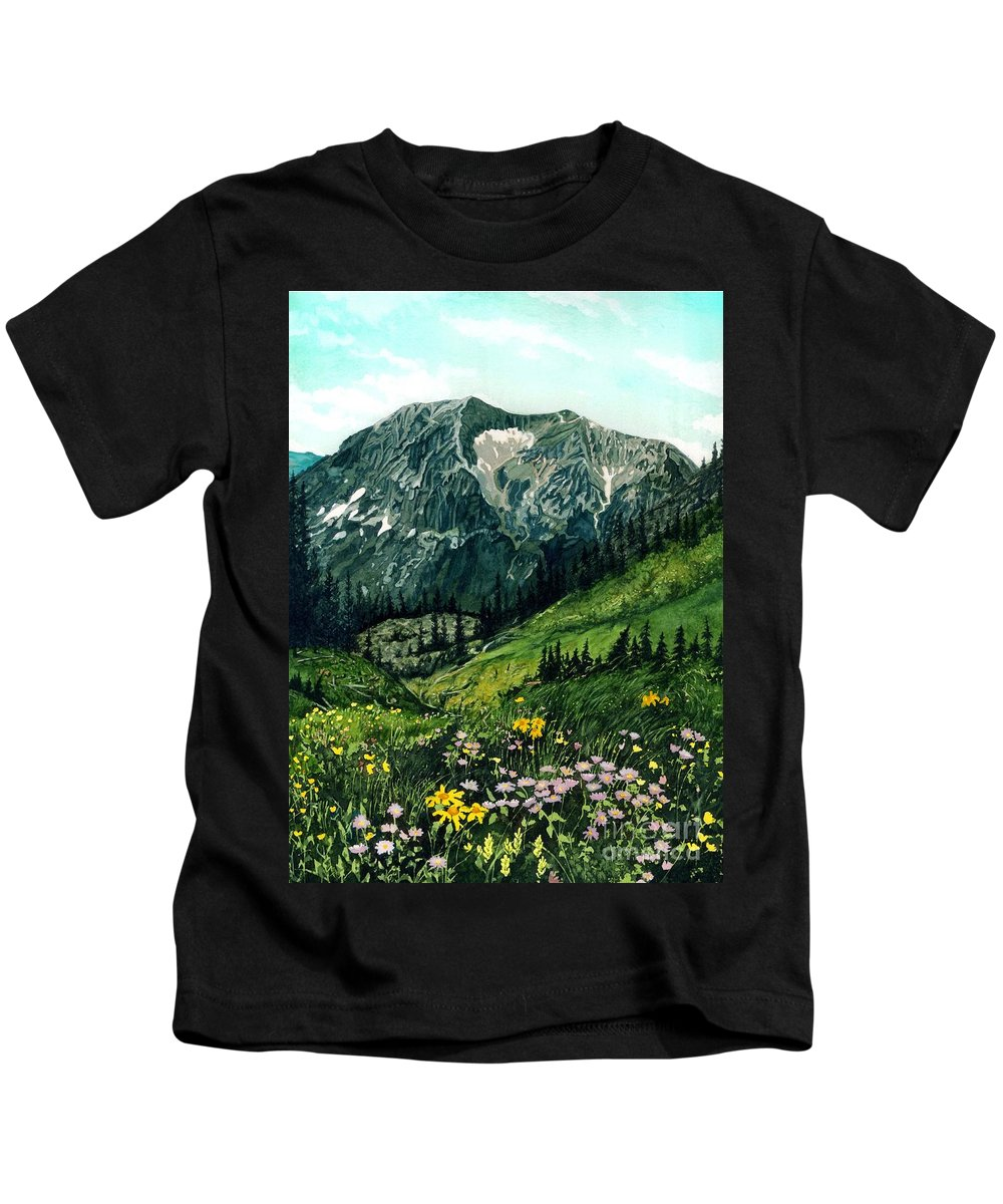 Mountain Landscape Kids T-Shirt featuring the painting Gothic Grandeur by Barbara Jewell
