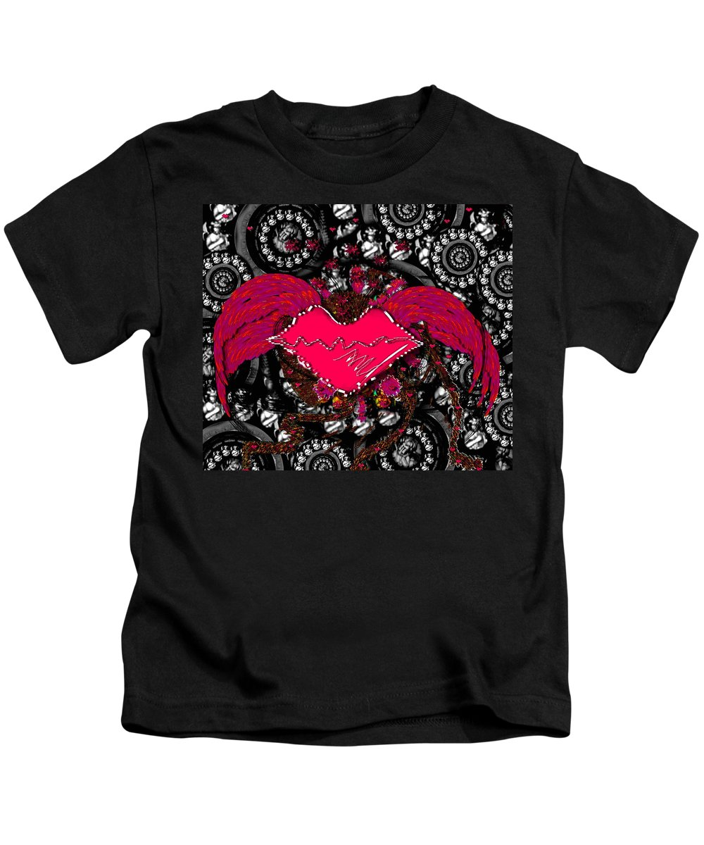 Wings Kids T-Shirt featuring the mixed media Gothic Night by Pepita Selles