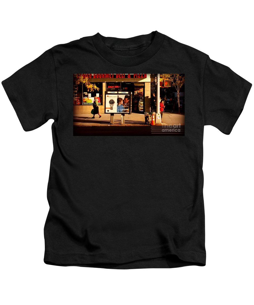 Manhattan Kids T-Shirt featuring the photograph Gourmet Deli And Pizza - New York City Street Scene by Miriam Danar