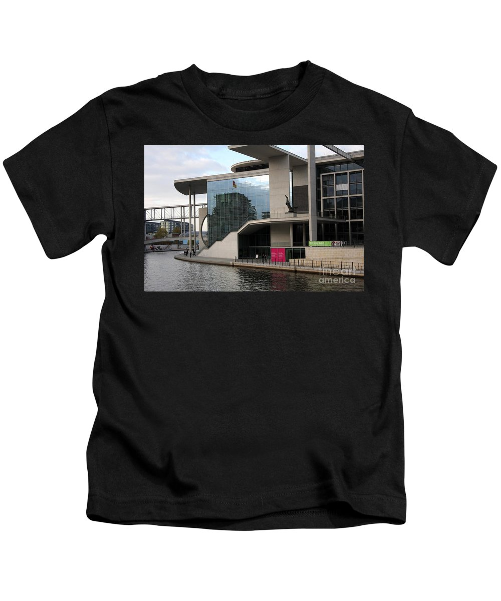 Government District Kids T-Shirt featuring the photograph Government District With Reichstag Reflection by Christiane Schulze Art And Photography