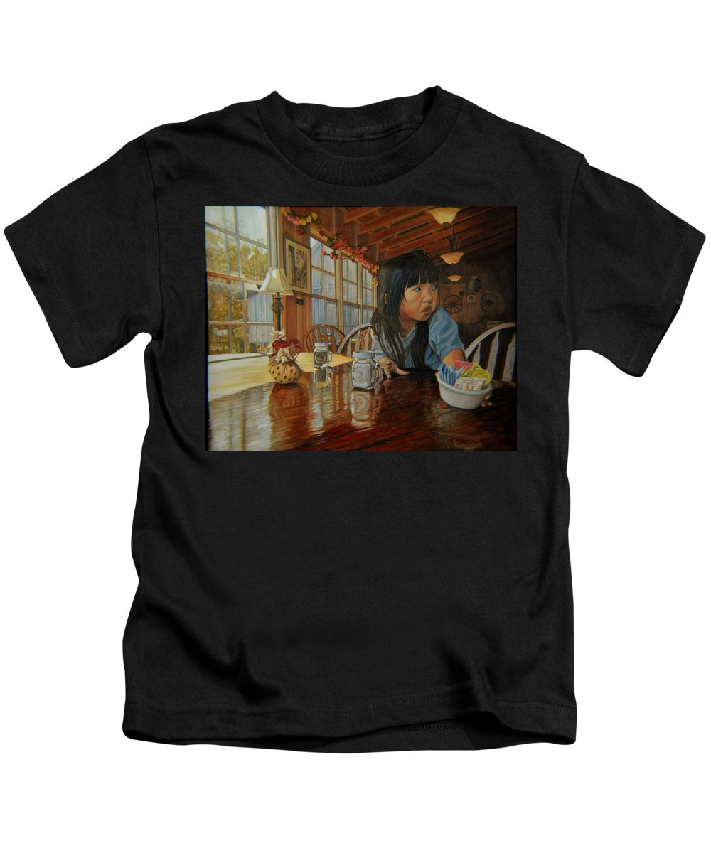 Figure Kids T-Shirt featuring the painting Grab Tear And Spill by Thu Nguyen