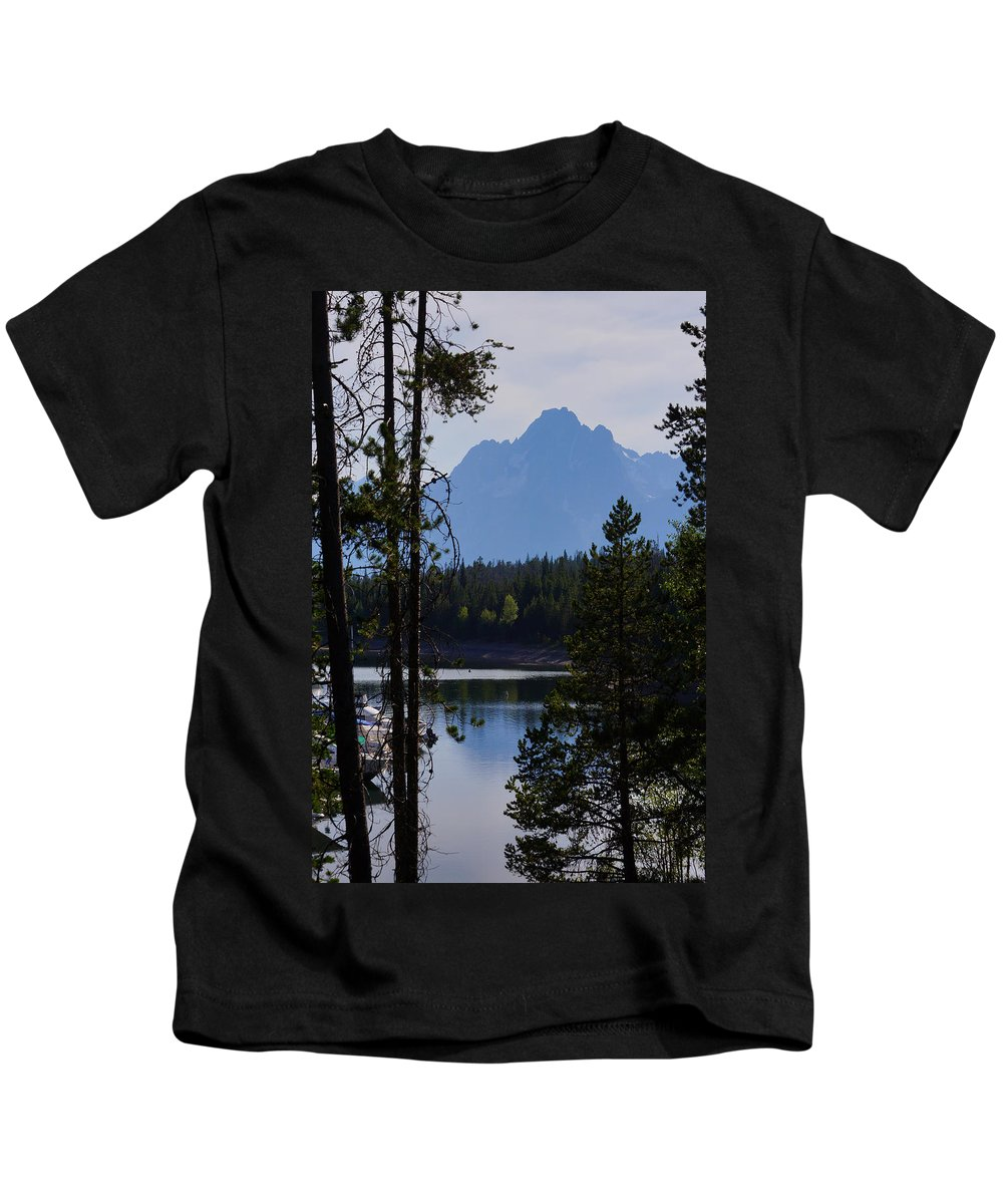 Bay Kids T-Shirt featuring the photograph Grand Teton Framed By Cedars by Jennifer White