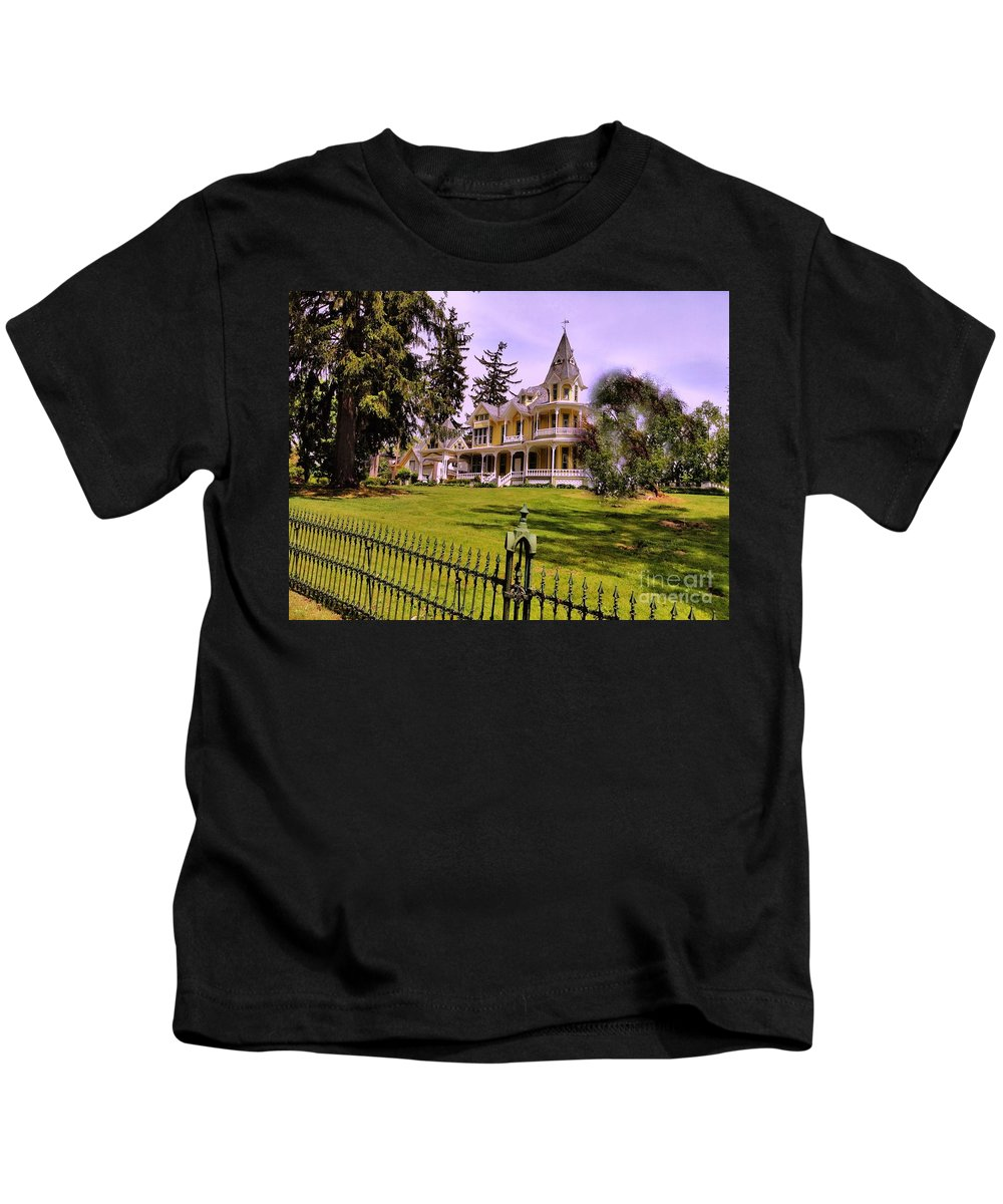 Steeple Kids T-Shirt featuring the photograph Grand Yellow Victorian And Gate by Becky Lupe