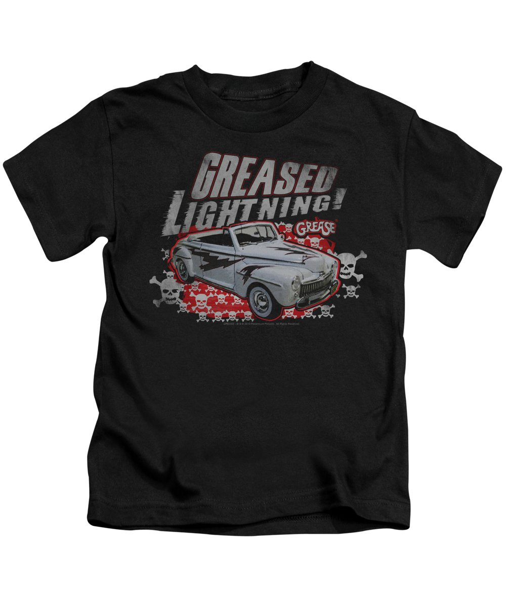 Grease Kids T-Shirt featuring the digital art Grease - Greased Lightening by Brand A