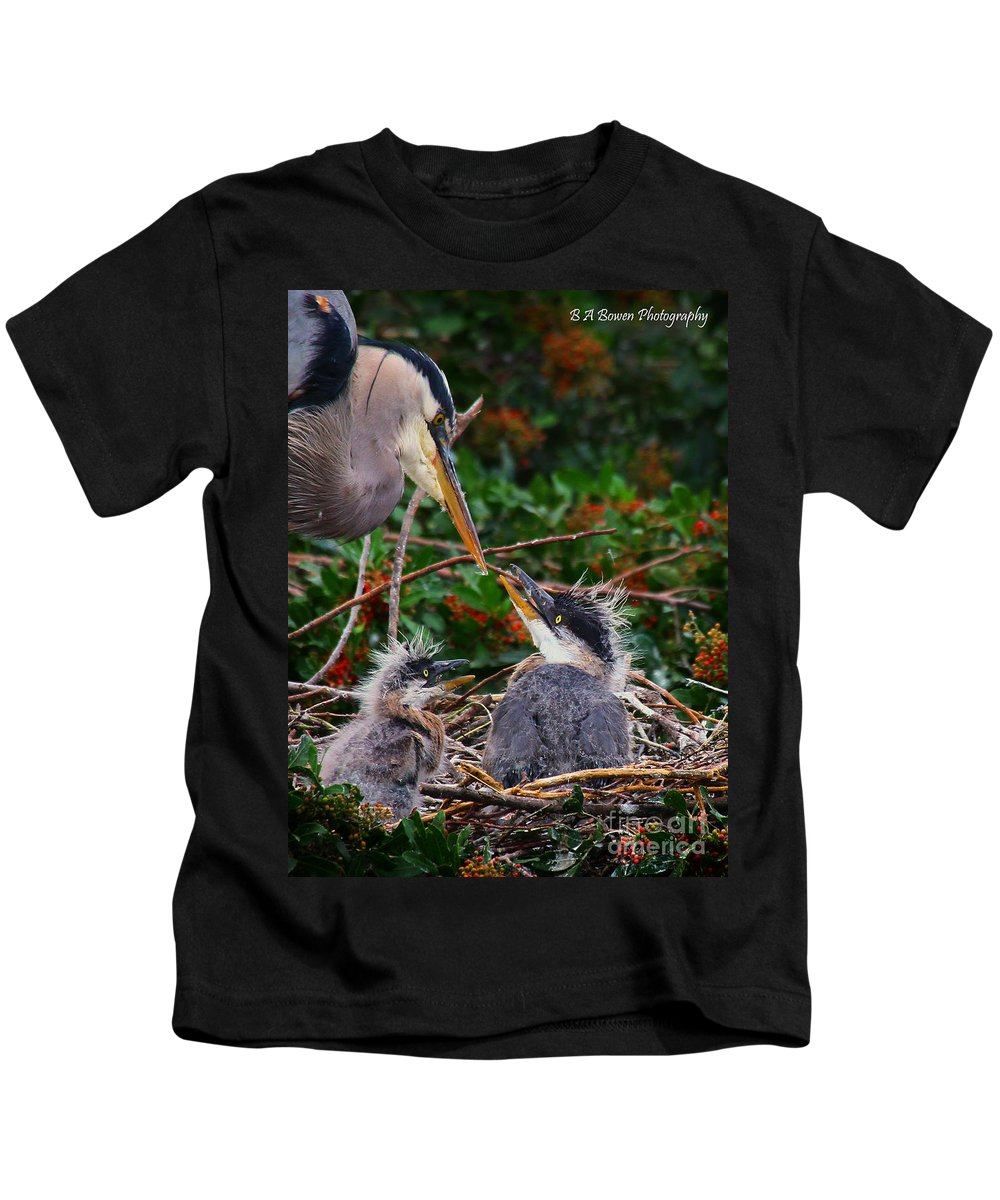 Great Blue Heron Kids T-Shirt featuring the photograph Great Blue Heron Family by Barbara Bowen