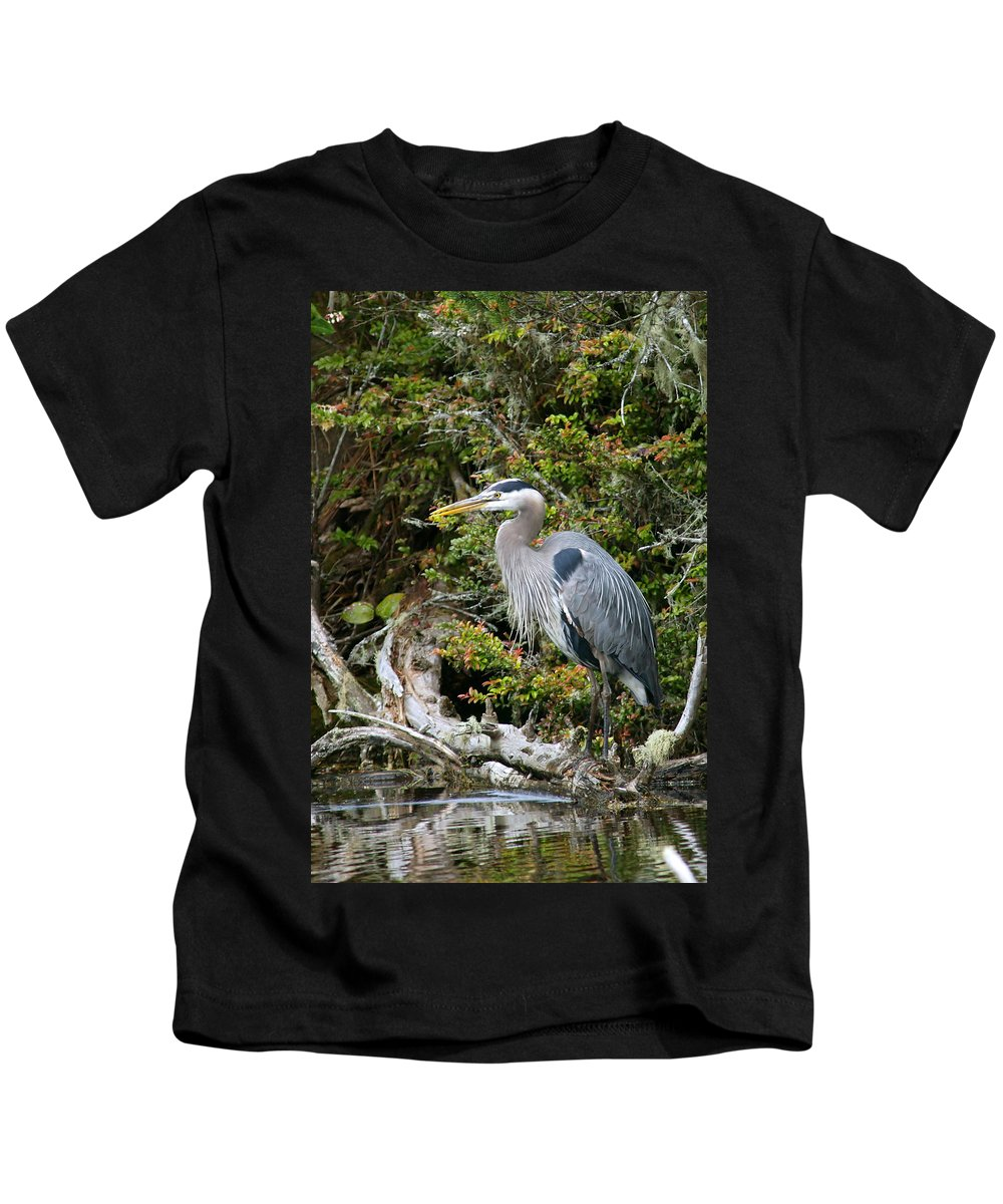 Great Blue Heron Kids T-Shirt featuring the photograph Great Blue Heron On Log by Randall Ingalls
