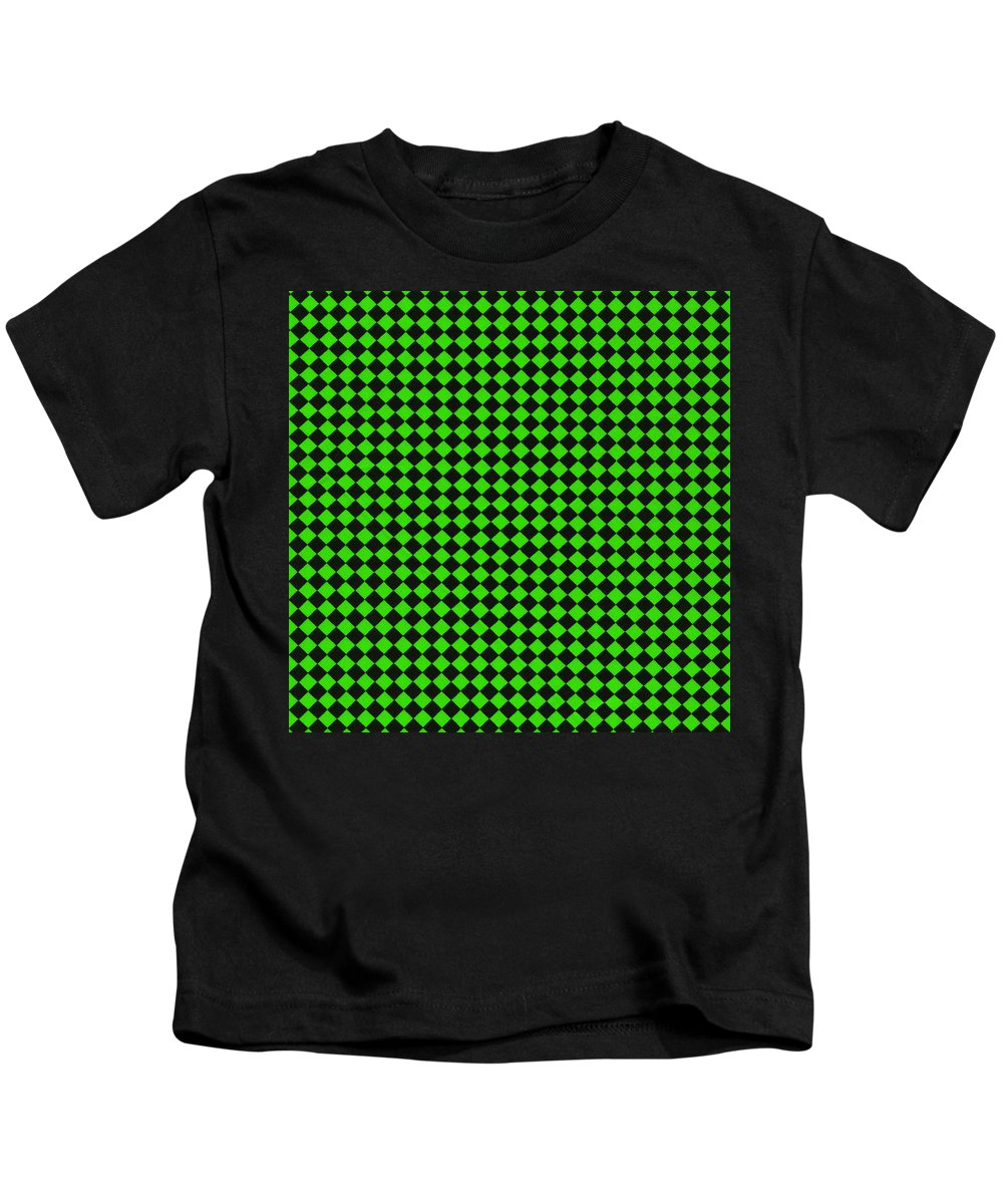 Pattern Kids T-Shirt featuring the photograph Green And Black Checkered Pattern Cloth Background by Keith Webber Jr