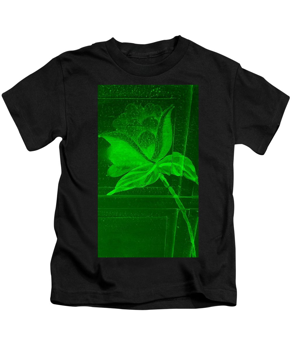 Flowers Kids T-Shirt featuring the photograph Green Negative Wood Flower by Rob Hans